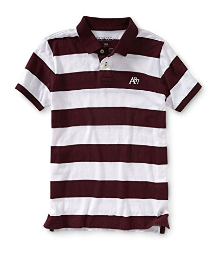 (Aeropostale Mens Striped A87 Rugby Polo Shirt, Red, X-Small)