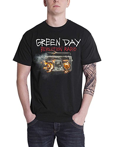 Green Day T Shirt Revolution Radio Album Cover Band Logo Official Mens Black Size S