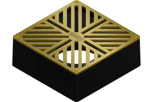 "USA Made - Sinnov - 6"" x 6"" Premium Brass Modern Paver Drain Grate - Use with 3"" & 4"" Drain Pipe, PVC or Flexible - No More Re-cutting Pipe or Pavers! Concrete, Natural Stone, Travertine"