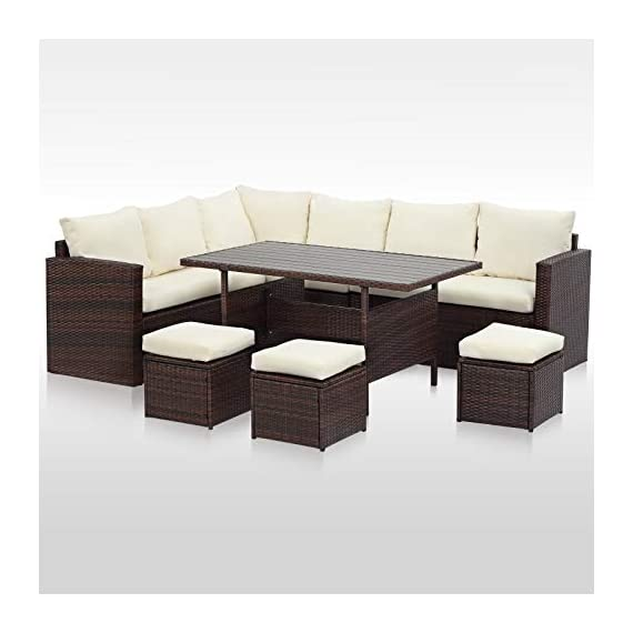 Wisteria Lane Patio Furniture Set,7 PCS Outdoor Conversation Set All Weather Wicker Sectional Sofa Couch Dining Table Chair with Ottoman,Ivory - EXQUISITE DESIGN - Combine the functionality of wood and iron with the comfort of wicker has a refined classic style,easier to match any preexisting decor OPTIMAL COMFORT - All cushions filled with thick sponge for optimal comfort and relaxation.Wide and deep seat will provide enough room to set comfortably HANDWORK MATERIAL - Made of strong galvanized steel frame and all-weather hand woven PE rattan.A handsome décor to your patio,porch,garden,yard or lawn - patio-furniture, dining-sets-patio-funiture, patio - 41tHMK0o%2BxL. SS570  -