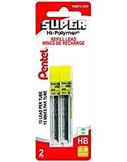 Pentel Super Hi-polymer Lead Refills, 15 Leads Per Tube, 2b Grade, 0.9mm Point Size, 180 Pieces Of Lead 12-50-9 2B