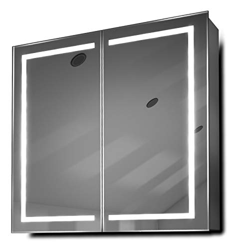 DIAMOND X COLLECTION Talia LED Bathroom Mirror Cabinet with Demister Pad, Sensor -