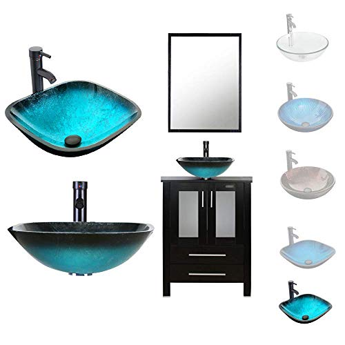 LUCKWIND Bathroom Vanity Vessel Sink Combo - 24 Cabinet Stand Mirror Artistic Glass Round Vessel Sink Faucet Drain ORB Single Storage (2 Door 2 Drawer Single - Espresso - Caribbean Blue Glass Vessel)