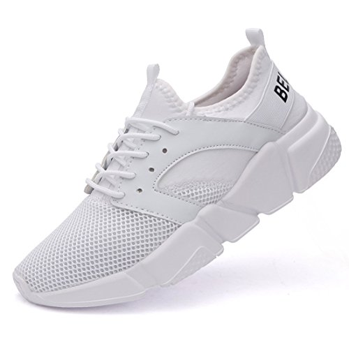 Belilent Women's Lightweight Walking Shoes Breathable Mesh Soft Sole for Casual Walk Outdoor Workout Travel Work All White-077
