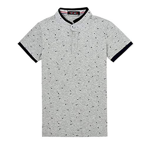 86242f03d Guitar Printed Stand Collar Polo Shirt Men Short Sleeve Casual Slim Fit  Cotton,Gray,