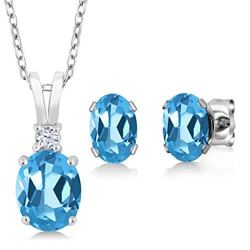 (3.15 Ct Oval Swiss Blue Topaz 925 Sterling Silver Pendant Earrings)
