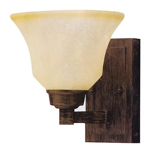Kichler 5388CST Langford 1LT Wall Sconce, Canyon Slate Finish with Dusty Citrine Glass - Dusty Citrine Glass