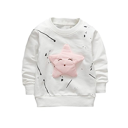 (Boy Girl Baby Smile Star Printed Cotton Long Sleeve Sweatshirt Top (24M, White))