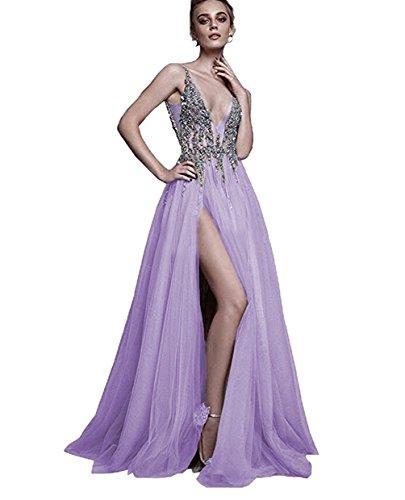 Dress Neck Bridal Luxury High Bridal Sexy Amore Lilac Slit V Wedding Prom Dress Evening pxnWp74FT