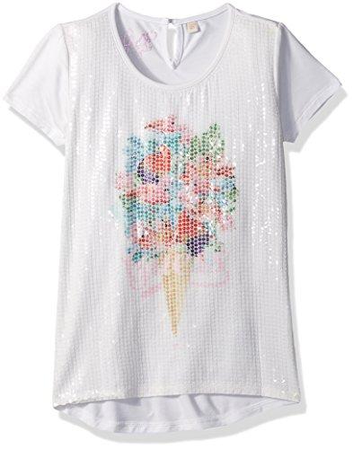 GUESS Little Girls' Short Sleeve Sparkle Ice Cream T-Shirt, True White, 5 -