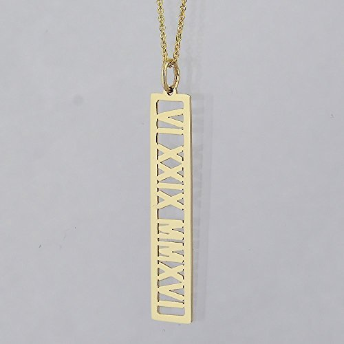 Personalized Name Open Bar Pendant Solid 14k Gold Vertical 1 1/4 Inches Roman Numerals Charm by Soul Jewelry Inc