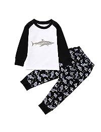 Matoen Children Kids Boys Girls Cartoon Long Sleeve Shark Print Tops+Pants 2pcs