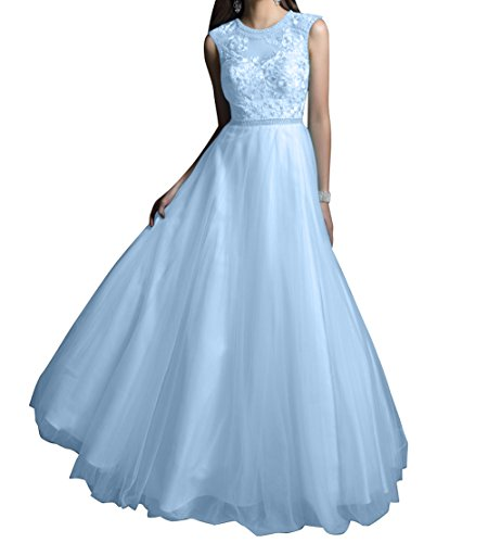 Spitze Abschlussballkleider Abendkleider mia Prinzess Blau Rock Linie Braut Langes La Promkleider Festlich Himmel Partylkleider A w1UI8xXq
