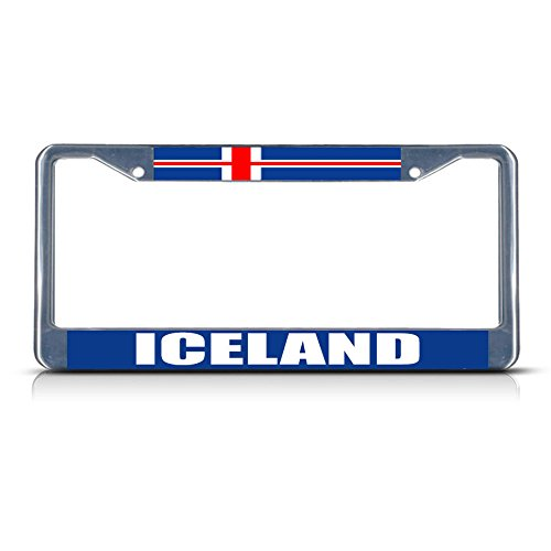 (Iceland Flag Metal License Plate Frame Tag Border Two Holes Perfect for Men Women Car garadge Decor )
