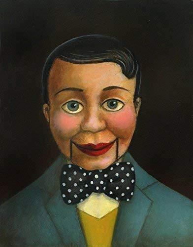 Ventriloquist Dummy Print - Vintage Puppet Art - Blue - Vaudeville - Broadway - Theater Art - Side Show - -