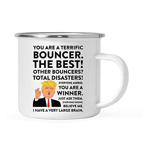 (Andaz Press Funny President Donald Trump Stainless Steel 11oz. Campfire Coffee Mug Gift, Terrific Bouncer, 1-Pack, Metal Enamel Christmas Birthday Drinking Camp Cup Republican Political)