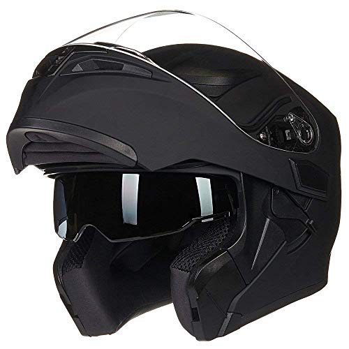 ILM Motorcycle Dual Visor Flip up Modular Full Face Helmet DOT with LED Lights(L, MATTE BLACK - LED)