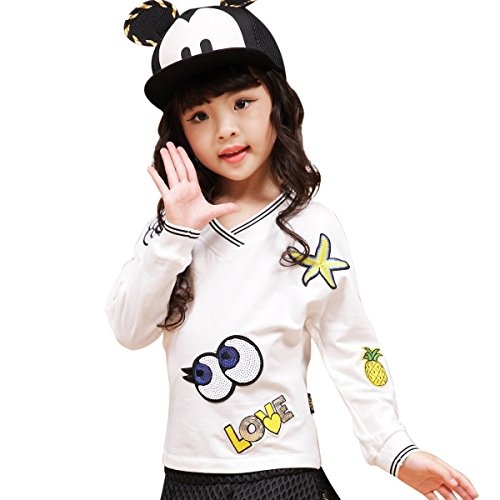 NABER Kids Girls' Lovely Cartoon Applique Embroidery Shirts 10-11 Years by NABER