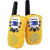 Retevis RT-388 Kids Walkie Talkies FRS 22CH 99CTCSS LCD Display Toy Flashlight VOX Scan Walkie Talkies for Kids(Yellow,1 Pair)