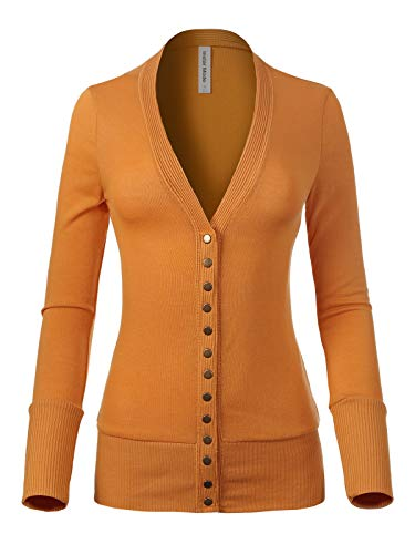 (Instar Mode Women's Soft Basic V-Neck Snap Button Down Knit Cardigan Ash Mustard M)