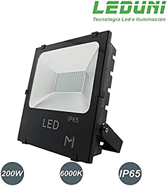 LEDUNI Foco Proyector Floodlight LED Exterior 200W Chips OSRAM ...