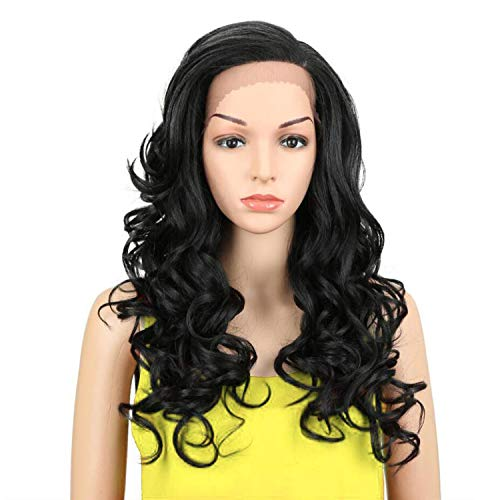 Trendy Lace Front Wig Fiber Loose Wave Synthetic Hair Wigs For Black Women Color 1B Pink Mixed Cosplay Wig,#1B,130%,Lace Front,22inches -