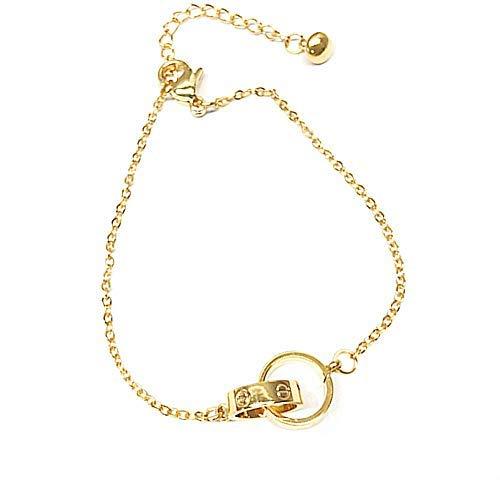 (Frederic Wilkins Women's Fashion Love Bracelet, Adjustable Charm Double Ring Bracelet for Women Girls (Gold))