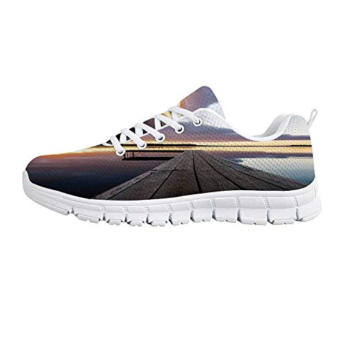 (YOLIYANA Art Fashion Gym Shoes,View of Sunset Over an Old Oak Deck Pier and Calm Water of The Lake Horizon Serenity Sneakers for Girls Womens,US Size 7.5 )