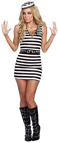 Sexy Jailbird Prison Stripes Dress Convict Prisoner Inmate Costume Adult (Prisoner Costumes Womens)