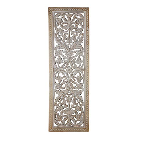 - Benjara Attractive Mango Wood Wall Panel Hand Crafted with Intricate Details, White,