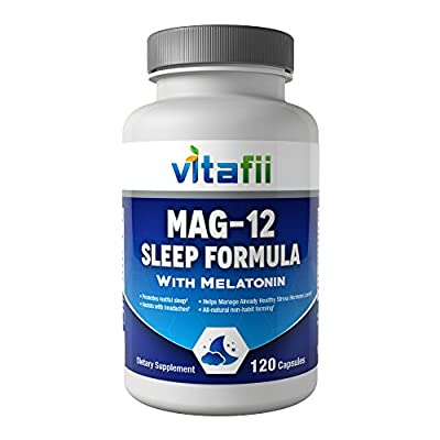 Vitafii MAG 12 Natural Sleeping Pills With Magnesium Glycinate, Vitamin B12, And Melatonin - Sleep Aid - 120 Capsules