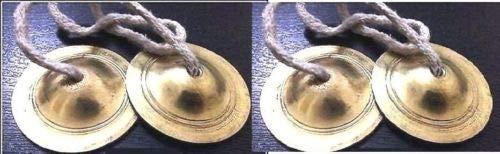 (finaldeals 2 X Hand Made Brass TINGSHA Cymbals Chimes Bell Metal KARTALS ISKON KIRTAN)