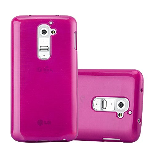 Cadorabo Case Works with LG G2 in Pink - Shockproof and Scratch Resistant TPU Silicone Cover - Ultra Slim Protective Gel Shell Bumper Back Skin (Best Protective Case For Lg G2)