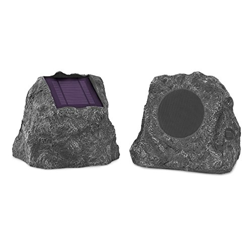 (Innovative Technology Premium 5-Watt Bluetooth Outdoor Rock Speakers with A/C Adaptor, Built In Rechargeable 5200mAh Battery and Solar Panels, Pair, Charcoal)