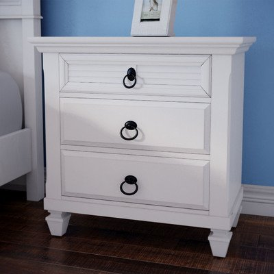 3 Drawer Pine Solid Nightstand Bedroom-Soft White from Highland Dunes