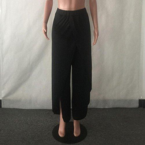 Verano Mujer Casual Suelto Pantalones Pierna ancha Culottes Tramo Pantalón Ropa Plisado Cintura elástica Black