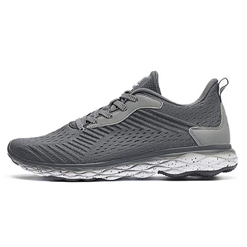 Flair Mens Trainers for Sports – Grey Gym Running Shoes for Men – Ultra Lightweight Mesh Athletic Trainer Shoes – Casual…