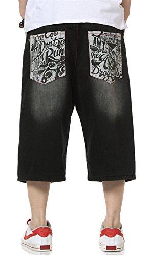 QBO Men's Cool Shorts Washed Jeans Denim Baggy Shorts