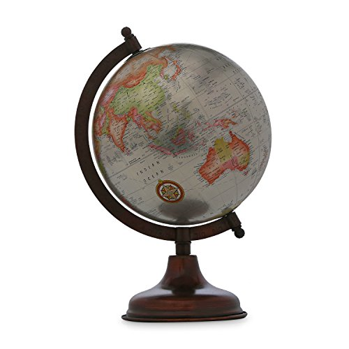 Handmade Iron Stand Word Map Antique Decorative Plastic Globe Iron Stand Rotating Word Map ()