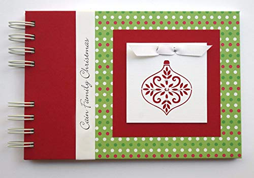 Christmas Photo Album by Charmbooks * Personalized Brag Book * Red Green White Dots with Ornament * Choose Your Design
