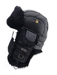FUR WINTER Taffeta Rabbit Fur Aviator Bomber Trapper Pilot Ski Hat BLK/BLK S/M