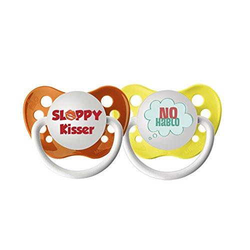 Ulubulu Expression Pacifier Set, Unisex, No Hablo and Sloppy Kisser, 0-6 Months