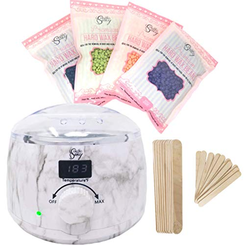 Waxing Kit - Marble Wax Warmer Hair Removal Kit - Digital LCD Display & Temperature Control, 4 Bags of Premium Quality FDA Approved Wax Beans, 10 Large Wooden Sticks, And 10 Small Wooden Sticks ()