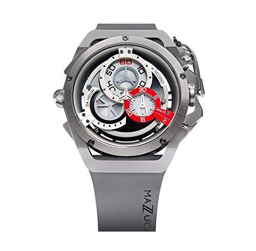 Mazzucato fälg vändbar automatisk och kronograf klocka med FKM gummiband grå 09-GYWH