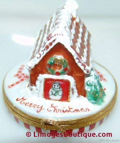 Porcelain Bread Box - Gingerbread House/candycanes - French Limoges Boxes - Porcelain Figurines Collectible Gifts