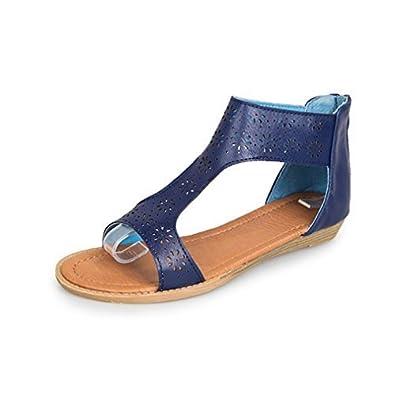 Chaussures à Talons Femme Sandales, Sandales Été Compensé Mode Pente Sandales Romaines à Large Bande pour Femmes Plage Zip ELECTRI