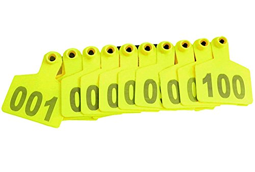Pack of 100 Yellow Cattle Ear Tag with Words From 001 to 100