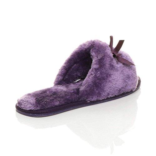 Ajvani Womens Ladies Flat peep Toe Bow Luxury Cosy Faux Sheepskin Fur Slip on Slippers Size Purple 1jaFdj