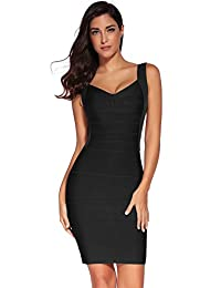 Meilun Women's Backless Low-cut Sling Bandage Cocktail Dress (X-Small, Black)