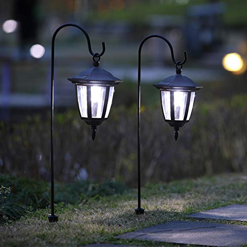 Plastic Hanging Solar Lights (MAGGIFT 26 Inch Hanging Solar Lights Dual Use Shepherd Hook Lights with 2 Shepherd Hooks Outdoor Solar Coach Lights, 2 Pack)